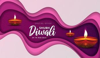 affiche de vente en papier diwali avec lampes à huile et mandala floral
