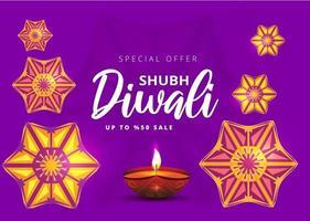 bannière de vente festival joyeux diwali avec lampe à huile et rangoli
