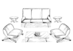 Intérieur de la maison esquissée avec canapé et table à manger vecteur
