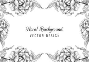 beau cadre floral d'ornement de mariage dessiné à la main vecteur