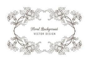 cadre floral de croquis décoratif artistique vecteur