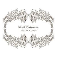 Couronne ovale florale de croquis décoratif élégant vecteur