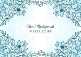 cadre de diamant de croquis floral bleu sur aquarelle vecteur