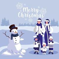 groupe de famille avec des vêtements de noël dans le paysage d'hiver vecteur
