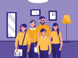 groupe de membres de la famille à l'intérieur de la maison