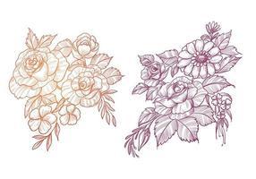 beau jeu de croquis floral vecteur