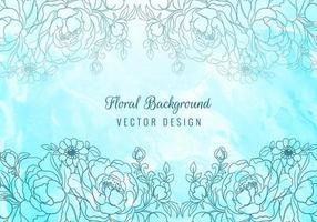 cadre floral moderne sur aquarelle bleue