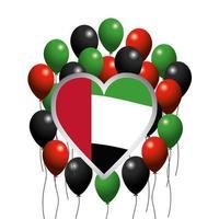 Emblème du coeur des Émirats Arabes Unis avec drapeau et ballons