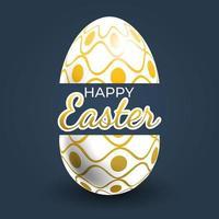 affiche d'oeuf de Pâques à rayures ondulées dorées et à pois
