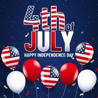 affiche du 4 juillet avec des ballons de drapeau sur fond bleu