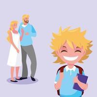 mignon petit garçon étudiant avec les parents