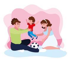 mère et père avec fils jouant