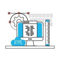programmation et technologie html vecteur
