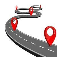 route de chemin avec navigation de carte de broche vecteur