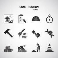jeu d'icônes de construction et de construction vecteur