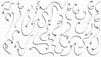 jeu de flèches tourbillon dessiné à la main vecteur