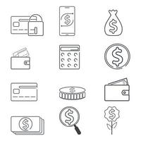 jeu d'icônes finance et dollar