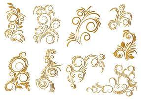 conception de décor floral décoratif doré