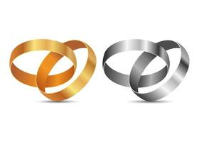 anneaux de mariage isolés sur fond blanc vecteur