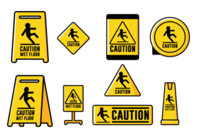Signe Vectoriel Caution Wet Foor