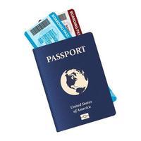 passeport avec billets d'avion à l'intérieur vecteur