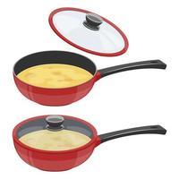 casserole avec soupe vecteur