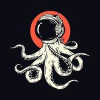 conception de t-shirt noir pieuvre spatiale vecteur