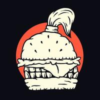 conception de t-shirt noir burger monstre