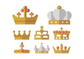 Icônes de vecteur couronne d'or