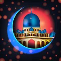 croissant de lune coloré et mosquée la nuit vecteur