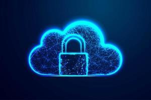 conception de wireframe polygonale icône de sécurité cloud vecteur