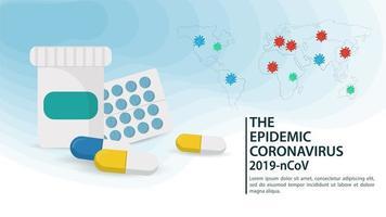 médicament pour la bannière de la pandémie de coronavirus vecteur