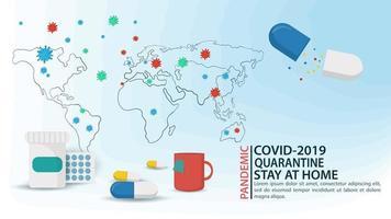 Bannière de la carte du monde des molécules du virus covid-19 vecteur