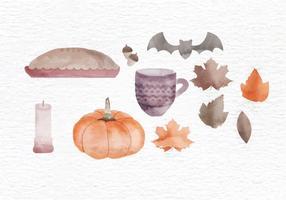 Éléments d'aquarelle automne vectorielle vecteur