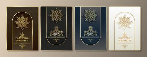 cartes de voeux de luxe avec motif mandala vecteur