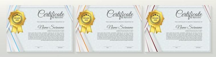 jeu de certificats d'angle bleu clair