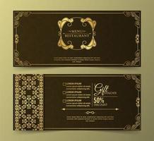 conception de chèques-cadeaux de luxe de restaurant de menu vecteur