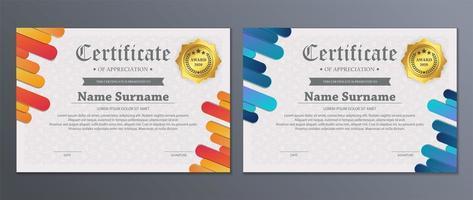 ensemble de certificats de bande arrondie colorée moderne vecteur