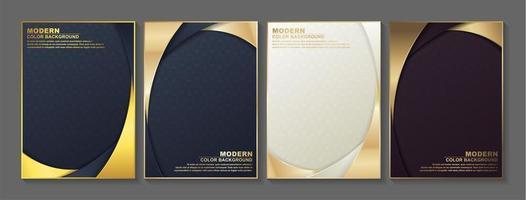 ensemble de couverture de bordure arrondie dorée vecteur