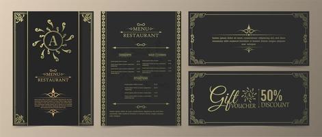 menu de restaurant de luxe et ensemble de chèques-cadeaux vecteur