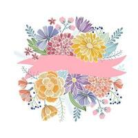 carte de voeux florale avec ruban rose vecteur