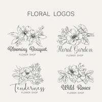 ensemble de logo de magasin de fleurs dessiné à la main
