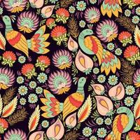 motif ornemental sans couture avec des oiseaux dans un style ukrainien vecteur