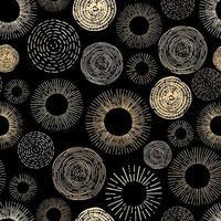 modèle sans couture de cercle stylisé or et noir