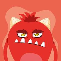 icône du design dessin animé monstre rouge vecteur