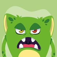 icône du design dessin animé monstre vert vecteur
