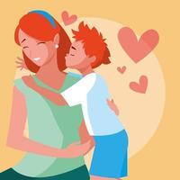 mère avec personnage avatar fils mignon