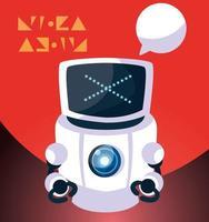 dessin animé de robot sur fond rouge vecteur