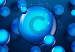 conception de molécule brillante bleue de vitamine c vecteur