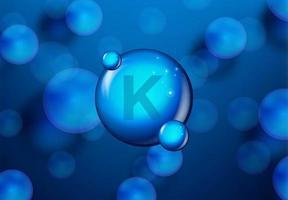vitamine k bleu brillant concept de molécule de pilule vecteur